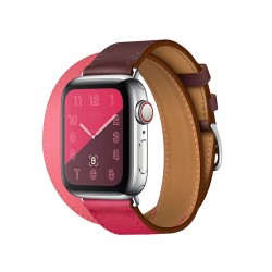 Double kožený řemínek s klasickou sponou pro Apple Watch 38/40mm - Růžovo-vínová