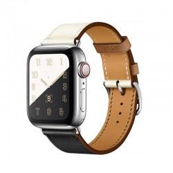Stylový kožený řemínek s klasickou sponou pro Apple Watch 42/44mm - Černo-bílá