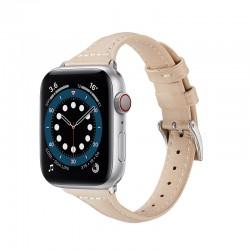 Elegantní kožený řemínek s klasickou sponou pro Apple Watch 38/40mm - Béžová