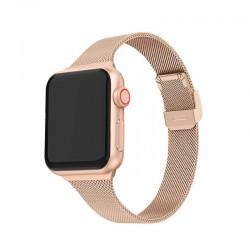 Kovový milánský tah zaklapávací pro Apple Watch 38/40mm - Rúžovozlatá