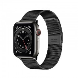 Kovový milánský tah zaklapávací pro Apple Watch 42/44mm - Černá