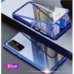 Magnetický kryt  360° s tvrzenými skly na Samsung Galaxy A32 (4G) - Modrá