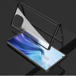 Magnetický ALU rámeček 360° s tvrzenými skly na Xiaomi Mi 11 Lite - Černá