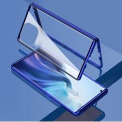 Magnetický ALU rámeček 360° s tvrzenými skly na Xiaomi Mi 11 Lite - Modrá