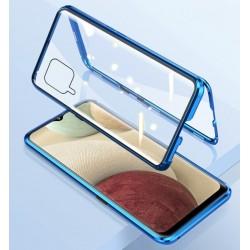 Magnetický kryt  360° s tvrzenými skly na Samsung Galaxy A22 (4G) - Modrá
