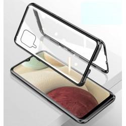 Magnetický kryt  360° s tvrzenými skly na Samsung Galaxy A22 (4G) - Černá