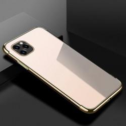 TPU obal na iPhone 13 Pro Max s barevným rámečkem - Zlatá
