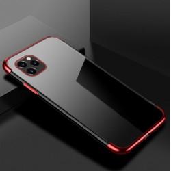TPU obal na iPhone 13 Pro Max s barevným rámečkem - Červená