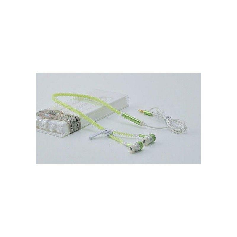 Svítivá sluchátka v zipovém provedení-Zelená